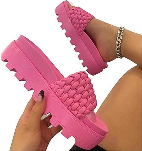 ADWA Zapatillas de moda de preparación de plataforma, para mujer, con correa...