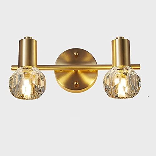 FMYZI Lámpara de Pared, Lámparas de Pared de Latón Posmodernas1 2/3 Cabezas K9 Accesorio de Iluminación de Cristal Ac90-260V Luz Nórdica Creativa para Espejo de Baño para Dormitorio