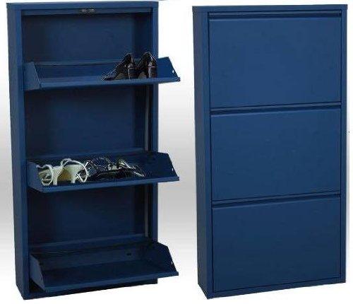 Camacho Zapatero metálico de 3 Puertas Azul, Metal, 50 x 14 x 103 cm