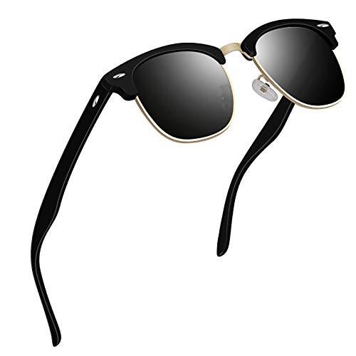 VVA Sonnenbrille Herren klassischer Retro-Halbrahmen Polarisiert Sonnenbrillen für Herren Damen V102(Matt Schwarz)