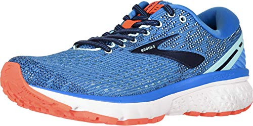 Brooks Womens Ghost 11 Running Shoe - Blue/Navy/Coral - B - 5.5