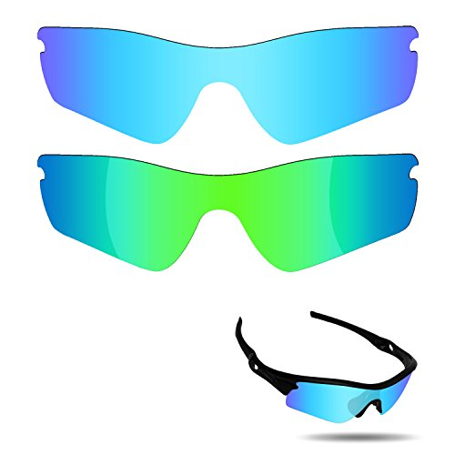 Fiskr Lenses Replacement for Oakley Radar Path Sunglasses 2 Pairs Packed (Ice Blue & Emerald Green)