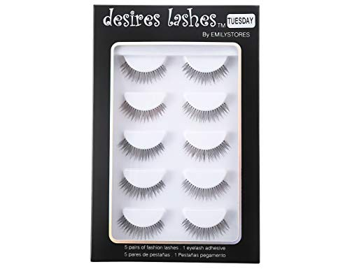 DESIRES LASHES By EMILYSTORES Natural Strip Eyelashes Multipack 5Pairs Per Kits, 02 Tuesday