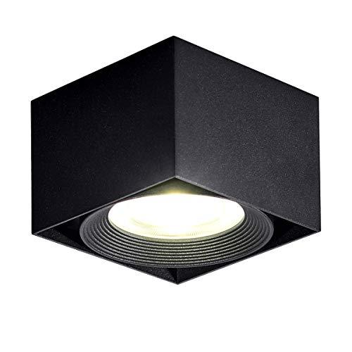Dr.lazy 10W LED Focos para el techo,Lámpara de techo, Focos de techo,Lámpara de salón,Luz de techo led,Plafón con Focos, IP20, 10X10x7CM (Negro-4000K)