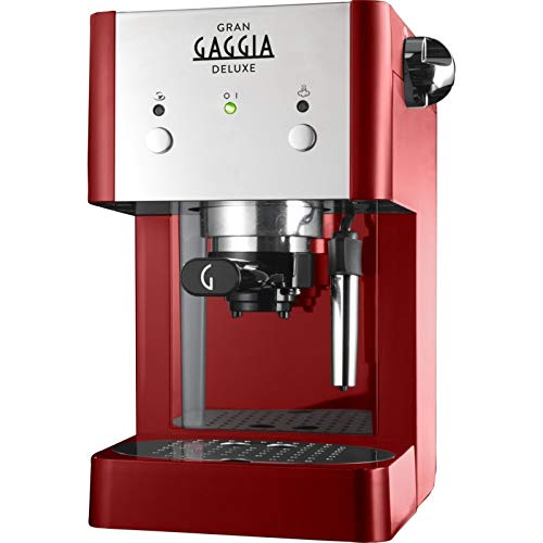 Gaggia RI8425/22 Gran Deluxe Coffee Machine, 950 W, 15 Bar, Red