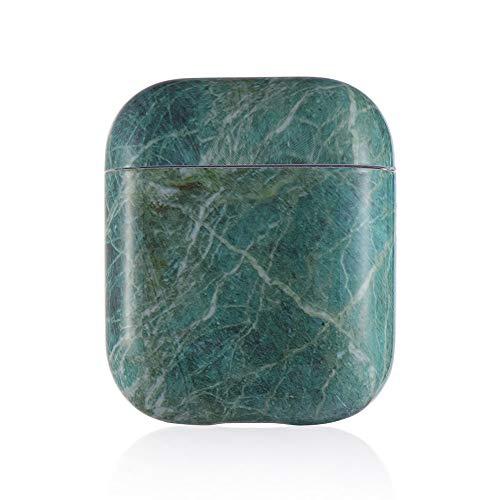 shihao159 3D Shell Skin Opladen Doos Beschermende Cover Protector Marmeren Harde PC Case Draadloze Oortelefoon Green Airpods 1 2