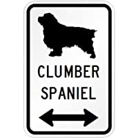 CLUMBER SPANIEL マグネットサイン ホワイト:クランバースパニエル(大) シルエットイラスト&矢印 英語標識デザイン Water Resis...