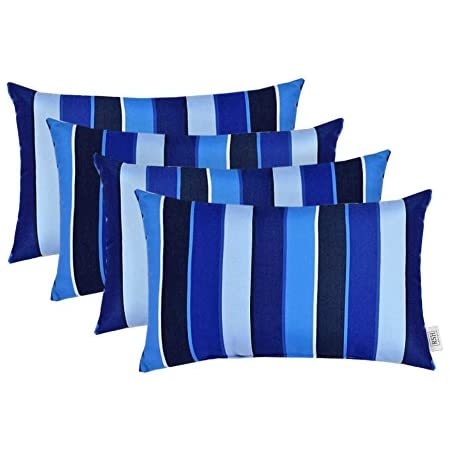 Amazon Com Set Of 4 Indoor Outdoor Decorative Lumbar Throw Pillows Sunbrella Milano Cobalt Blue Stripe Choose Size 12 X 20 Garden Outdoor