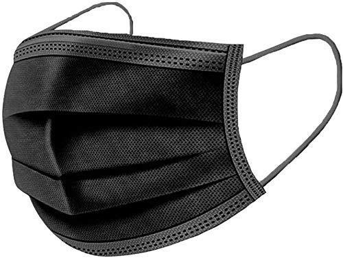 RENREN 50 Stück – Schutzhülle, atmungsaktive Ohrbügel, 3 Schichten, schützt den Mund, geeignet für Outdoor-Aktivitäten, Schule, Freunde, Parks (Schwarz 3)