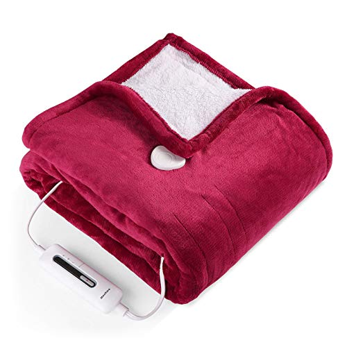 """Electric Blanket Throw 50"""" x 60"""", Fast Heating Blanket ETL Certification with 3 Heating Levels & 4 Hours Auto Off, Flannel & Sherpa Reversible Machine Washable, Home Office Use"""