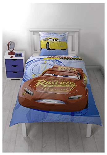 Bjorna–Juego de cama de Cars 3Reversible funda nórdica de 140x 200cm y funda de almohada de 63x 60cm 100% algodón