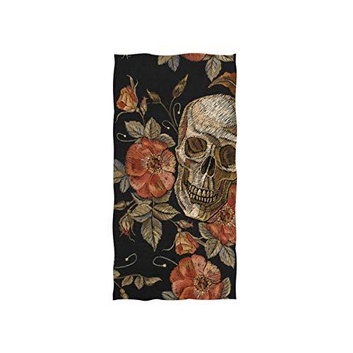 LREFON Toallas Vintage IC Bordado Estampado día de los Muertos cráneo Rosa peonía Dia De Los Muertos patrón para la Ducha,Toallas de baño,Deportes al Aire Libre
