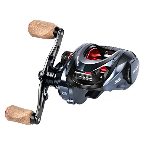 Goture Ares-Max Baitcasting Fishing Reel 22LB Carbon Fiber Drag, 6.3:1 Low Profile Baitcaster Reel with Magnetic Brake System10+1 Shielded Bearings Saltwater Freshwater (Right Handle with Cork Knob)