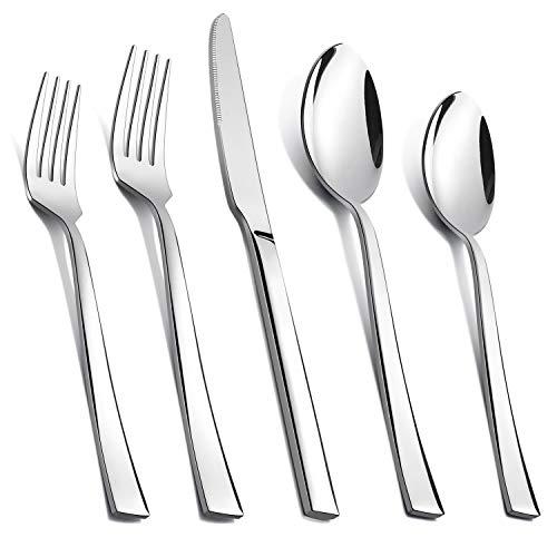 TEAMFAR Besteck Set, 30-teilig Edelstahl Besteckset Essbesteck für 6 Personen, Stilvoller Geschirr mit Messer/Gabel/Löffel für Haushalt/Küche/Camping, Hochglanzpoliert & Spülmaschinengeeignet