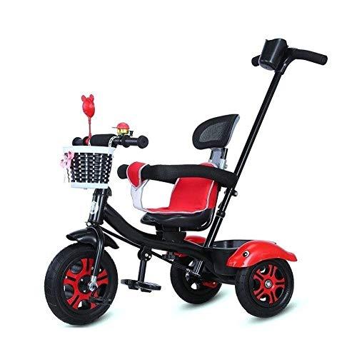 WLD Trainingsfiets Trike Kinderrijwielen Kinderfiets Draagbare Baby Kinderwagen 1-3-6 Jaar Oude driewieler met Backrest Beveiliging Omheining 2 Kleur Opties Jongens en Meisjes Verjaardagscadeaus Rood