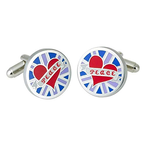 Sonia Spencer - Boutons De Manchette, Blue Circular Peace GB, GB Collection