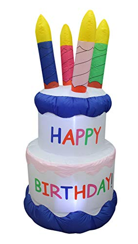 BZB Goods 6 Foot Tall Inflatable Happy Birthday Cake with 4 Candles Outdoor Indoor LED Lights Holiday Decorations, Blow up Lighted Yard Decor, Giant Lawn Inflatable Home Garden Party Favor Decoration
