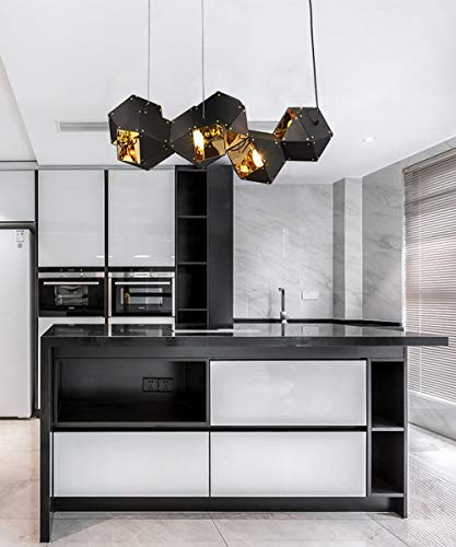 Creatividad sala de estar Lámpara colgante Chandelier Lámpara de diseño poligonal Plafón de Techo negra Pared interior dorada ajustable en altura dormitorio isla cocina metal Luz de Techo (B)