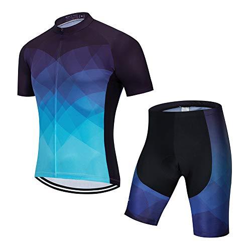 HUIGE Heren Fietspak Korte mouw Bib Shorts Met 3D Gel Gewatteerde Ritssluitingen Ademend Duurzaam Snel Droog Buiten Fietsen Panty Outfit Suit