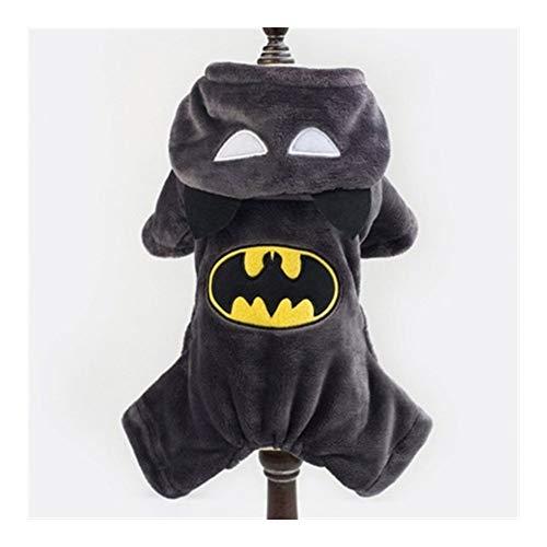 YUELANG Winter Warme Cartoon Hund Hoodie Vier Fuß Batman Und Kaffee Katze Haustier Hund Kleidung Fleece Mops Hoodie Hund Sweatshirt Mantel (Color : Batman, Size : M)
