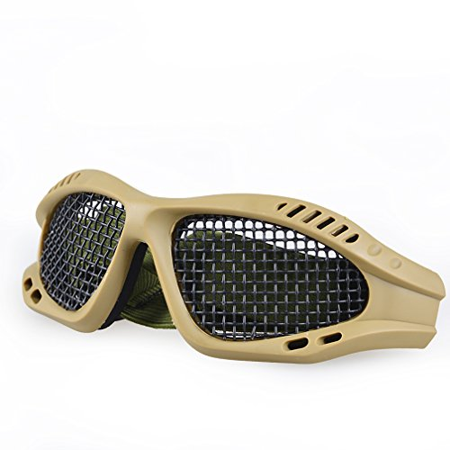 A-Parts Tactical Shooting Airsoft Goggles Anti Fog Mesh Safety Goggles for Military Fans Color Tan