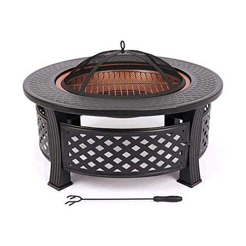 HTTJDY Fire Pit Garden Terrace Fire Pit with Grill, Poker & Protective Grille, Fire Pit for Heating/BBQ, Fire Basket with Waterproof Protective Cover, for Camping Yard Garden Terrace