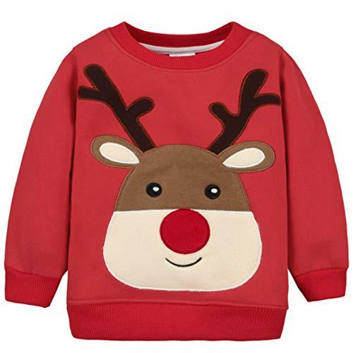 G-Kids Baby Mädchen Jungen Fleecepullover Weihnachtspulli Kleinkinder Herbst Winter Verdickte Warm Langarm Pullover Sweatershirt Oberbekleidung Rot 2 Jahre