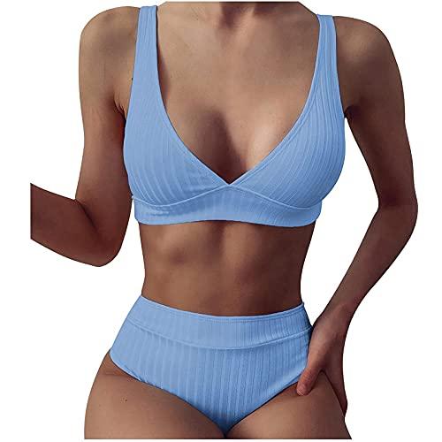 VCAOKF Costume da bagno intero da donna, in due pezzi, con bretelle a tinta unita, S/M/L/XL Azzurro M