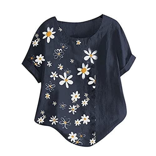 Blusa de manga corta para mujer, parte superior de verano, cuello redondo, estampado floral, jersey para mujer, parte superior de algodón y lino, suelta, básica, camiseta de verano, azul oscuro, XXL