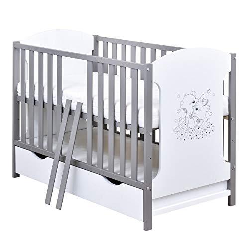 Baby Delux Babybett Kinderbett 120x60 Weiß Grau mit Bärchen Motiv inkl. Schublade und Matratze