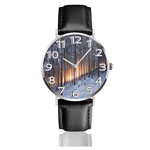 Reloj de Pulsera Bosque Cubierto de Nieve Luz Dorada Durable PU Correa de Cuero Relojes de Negocios de Cuarzo Reloj de Pulsera Informal Unisex