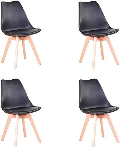 Estilo nórdico sillas ergonómicas, sillas de comedor, asientos tapizados se pueden colocar en la cocina, sala, sala de conferencias, bar, sala de comer torta, black