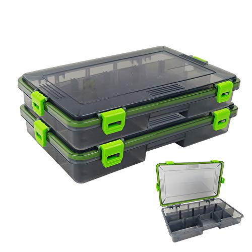 2PACK Aventik Waterproof Fishing Tackle Storage Trags Transparent Plastic Box Organizer Box Adjustable Dividers Terminal Fishing Tackle and Lures 10.6X6.6X2inch 26.5cmX16.5cmX 5cm(Transparent Grey)