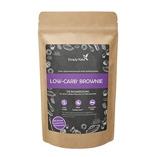 Simply Keto | Brownie Backmischung ohne Zuckerzusatz | Keto & Low-Carb | Für eine Brownie Backform, einen Tortenboden oder 12 Muffins | Glutenfrei & sojafrei