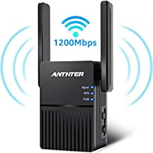 WiFi Range Extender, Anthter 1200Mbps WiFi Repeater with 2 External Antennas, 2.4 & 5GHz Dual Band Signal Booster, 360 Degree Full Coverage WiFi Range Extender Repeater, Easy Set-Up