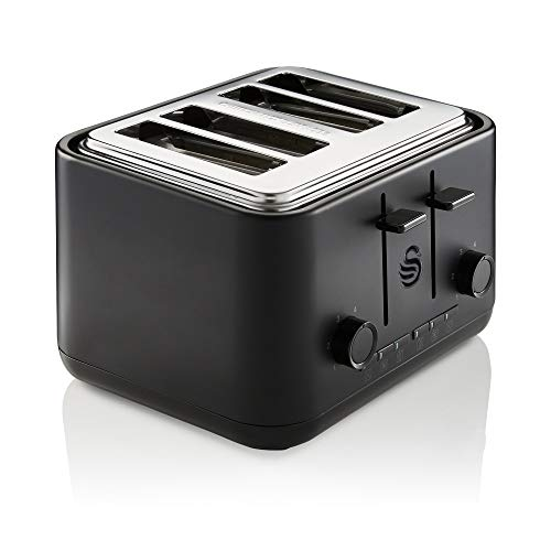 Swan Stealth 4 Slice Toaster, Cancel, Reheat and Defrost Settings, Black, Independent Browning Controls, ST34040BLKN