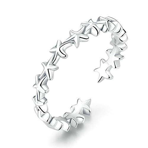 JIARU 925 Sterling Silver Ring for Women Adjusatable ring fashion simple ring and Starfish ring and star rings for Girl Open Finger Ring Gift