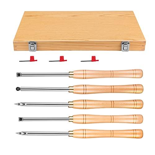 KOSIEJINN Juego de torno de 5 piezas Herramientas de torneado de madera con punta de carburo, acabado medio, más duro, detallista, para cortar ranuras en V/hacer curvas y grietas y recortar líneas