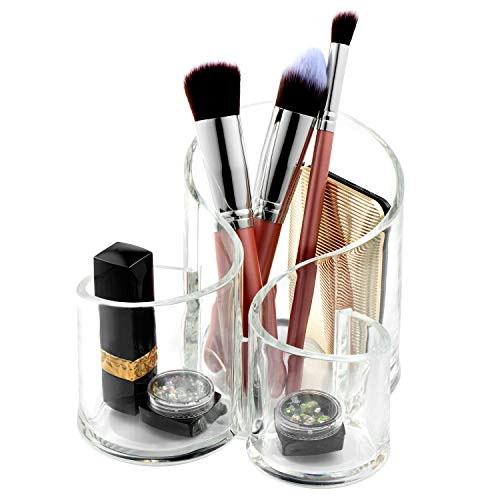 WolinTek Organisateur de Maquillage, 3 espaces Rangement en Acrylique cosmétiques Organisateur pour Pinceaux à Maquillage