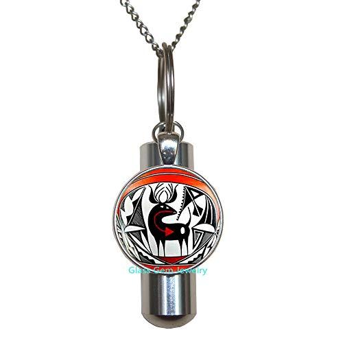 Glasso0gemo0Jewelry Q0079 collar con URN de cremación india nativa americana, URN de arte de ciervo indio americano, joyería suroeste, collar urna de cremación étnica tribal, collar URN de cremación para hombre