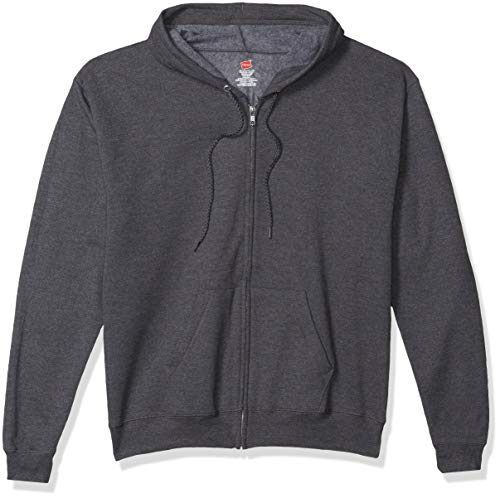 Hanes Men's Full-Zip Eco-Smart Fleece Hoodie, Charcoal Heather, Large