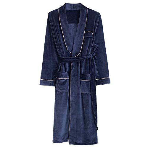 KANJJ-YU Invierno Hombre camisón Largo Caliente Grueso baño de Gran tamaño Sueltos otoño y del Invierno de sección Ligera Polar de Coral Pijamas Homewear, XL Ropa de baño