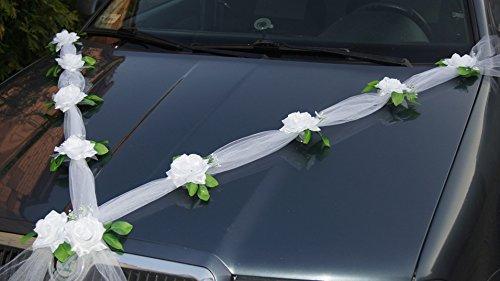 Prezer Guirlande décorative de mariage pour voiture en tulle et roses avec ventouses Blanc 1,70m