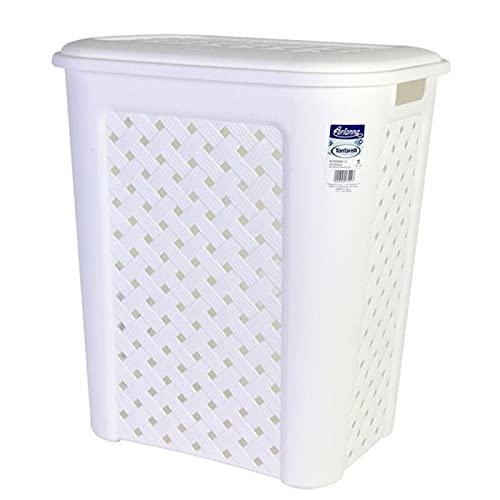 Acan Cesto de la Ropa con Tapa, de Color Blanco, con Capacidad de 30 litros y de 37.5 x 27.5 x 47 cm. Cesta de plástico para Transportar la Ropa de la Colada. Capacho para el hogar.