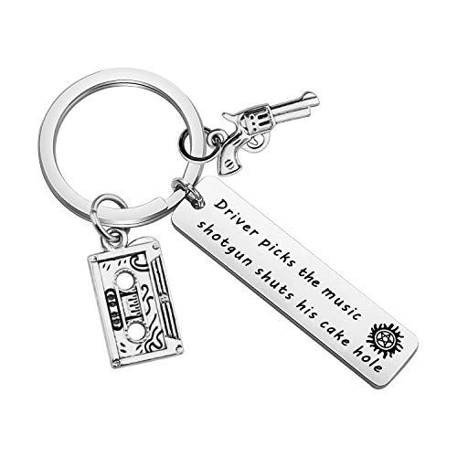 bobauna Supernatural Keychain Driver Picks A Music Shotgun Shuts His Cake Hole Inspirational Gift For Supernatural Fan Driver (driver music shotgun keychain)