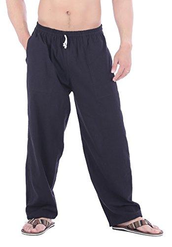 CandyHusky Men Casual Lounge Jogging Workout Yoga Pants Elastic Waist Drawstring (XL/XXL, Black)
