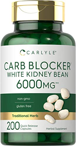 White Kidney Bean Carb Blocker | 6000mg 200 Count | Non-GMO & Gluten Free Extract | by Carlyle