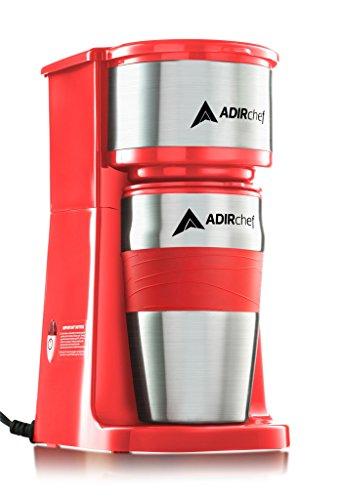 AdirChef Grab N Go Personal Coffee Maker with 15 oz Travel Mug - Single Serve Coffee Maker with Coffee Tumbler - Heavy Duty Sturdy Coffee Maker - Compact Design Red