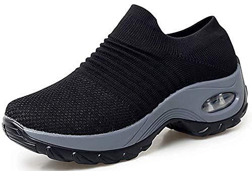 2019 Zapatos cuña Mujer Zapatillas de Deportivas Plataforma Mocasines Primavera Verano Planas Ligero Tacon Sneakers Cómodos Zapatos para Mujer Negro Gris Blanco