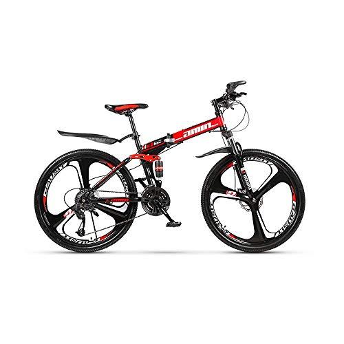 Mountain bike Mountain Bike Durable Road Bike 24 Speed Folding Urban Track Bike 24-inch Shift Male and Female Students Double Shock Absorber Adult Dual Disc Double Shock Absorber Beach Bicycle